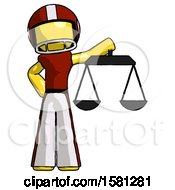 Yellow Football Player Man Holding Scales Of Justice