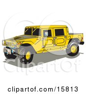 Big Yellow Hummer H2 Vehicle With A Truck Bed