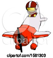 Yellow Football Player Man In Geebee Stunt Plane Descending Front Angle View