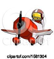 Yellow Football Player Man Flying In Geebee Stunt Plane Viewed From Below