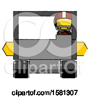 Yellow Football Player Man Driving Amphibious Tracked Vehicle Front View