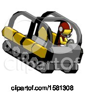 Yellow Football Player Man Driving Amphibious Tracked Vehicle Top Angle View