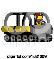 Yellow Football Player Man Driving Amphibious Tracked Vehicle Side Angle View
