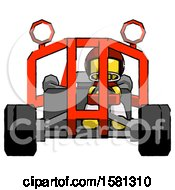 Yellow Football Player Man Riding Sports Buggy Front View
