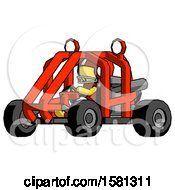 Yellow Football Player Man Riding Sports Buggy Side Angle View