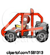 Yellow Football Player Man Riding Sports Buggy Side View
