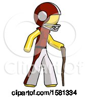 Yellow Football Player Man Walking With Hiking Stick