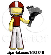 Yellow Football Player Man Holding Feather Duster Facing Forward