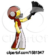 Yellow Football Player Man Dusting With Feather Duster Upwards