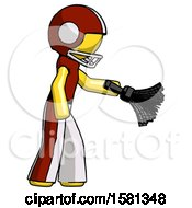 Yellow Football Player Man Dusting With Feather Duster Downwards