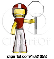 Yellow Football Player Man Holding Stop Sign