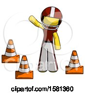 Yellow Football Player Man Standing By Traffic Cones Waving