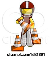 Yellow Football Player Man Holding A Traffic Cone