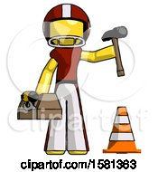 Yellow Football Player Man Under Construction Concept Traffic Cone And Tools