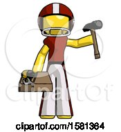 Yellow Football Player Man Holding Tools And Toolchest Ready To Work