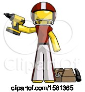 Yellow Football Player Man Holding Drill Ready To Work Toolchest And Tools To Right