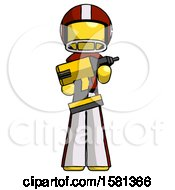 Yellow Football Player Man Holding Large Drill