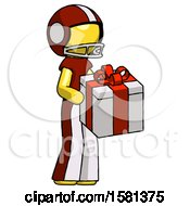Yellow Football Player Man Giving A Present