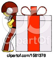 Yellow Football Player Man Gift Concept Leaning Against Large Present