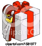 Yellow Football Player Man Leaning On Gift With Red Bow Angle View