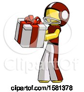 Yellow Football Player Man Presenting A Present With Large Red Bow On It