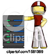 Yellow Football Player Man With Server Rack Leaning Confidently Against It