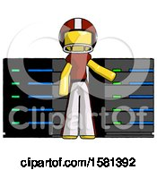 Yellow Football Player Man With Server Racks In Front Of Two Networked Systems