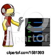 Yellow Football Player Man Server Administrator Doing Repairs