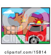 Fire Truck In Front Of A Burning House Clipart Illustration
