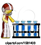 Yellow Football Player Man Using Test Tubes Or Vials On Rack