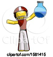 Yellow Football Player Man Holding Large Round Flask Or Beaker