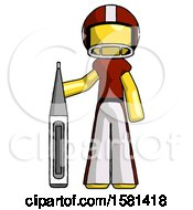 Yellow Football Player Man Standing With Large Thermometer