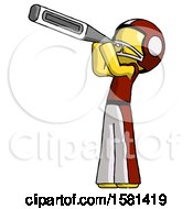 Yellow Football Player Man Thermometer In Mouth