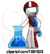 White Football Player Man Holding Test Tube Beside Beaker Or Flask