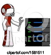 White Football Player Man Server Administrator Doing Repairs