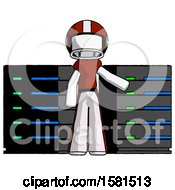 White Football Player Man With Server Racks In Front Of Two Networked Systems