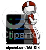 White Football Player Man Resting Against Server Rack Viewed At Angle