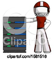 White Football Player Man With Server Rack Leaning Confidently Against It