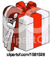 White Football Player Man Leaning On Gift With Red Bow Angle View