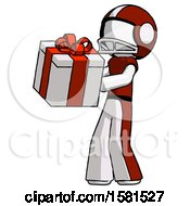 White Football Player Man Presenting A Present With Large Red Bow On It