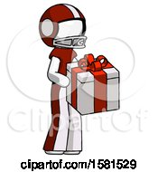 White Football Player Man Giving A Present