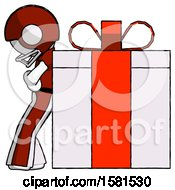 White Football Player Man Gift Concept Leaning Against Large Present