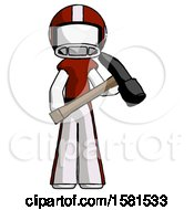 White Football Player Man Holding Hammer Ready To Work