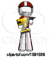 White Football Player Man Holding Large Drill