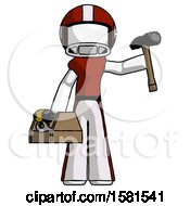 White Football Player Man Holding Tools And Toolchest Ready To Work