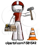 White Football Player Man Under Construction Concept Traffic Cone And Tools