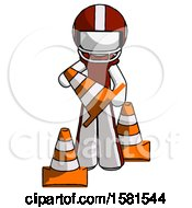 White Football Player Man Holding A Traffic Cone