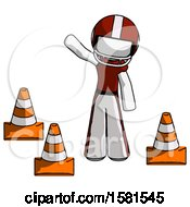White Football Player Man Standing By Traffic Cones Waving