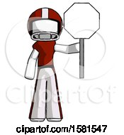 White Football Player Man Holding Stop Sign