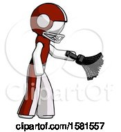 White Football Player Man Dusting With Feather Duster Downwards